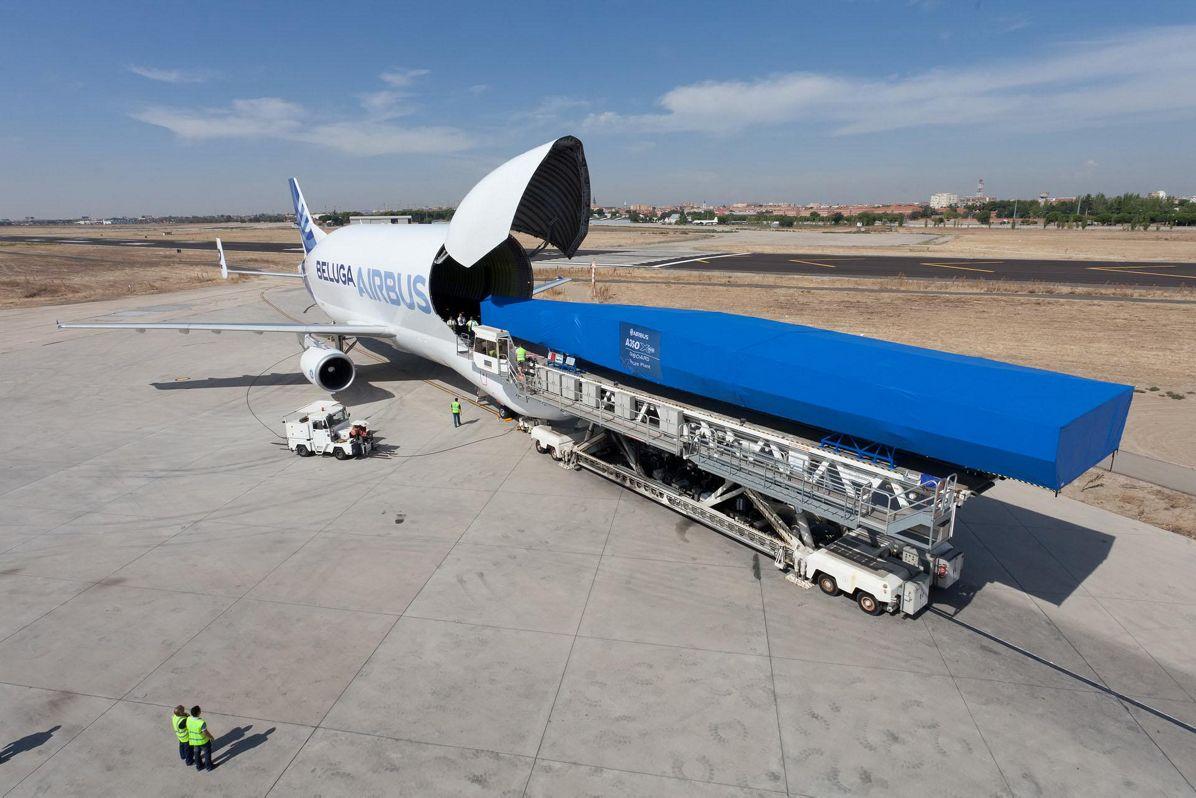 A350 XWB wing loading on Beluga
