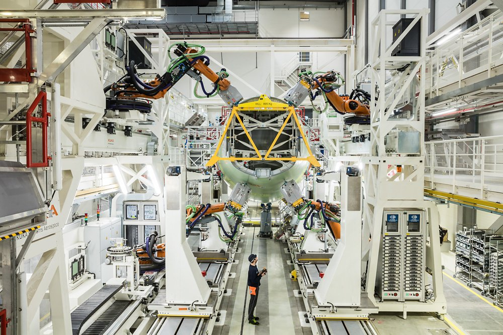 Components are joined on Airbus' fuselage structure assembly line for A320 aircraft, located in Hamburg, Germany.
