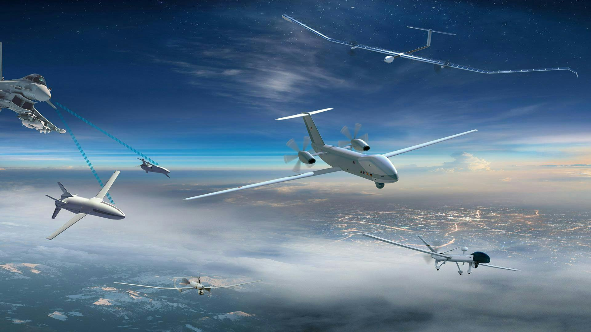 This distributed network of intelligence connects unmanned aerial systems, enabling them to act as force multipliers for the manned aircraft.