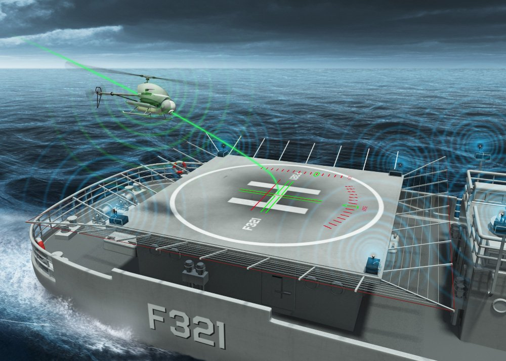 Diagram of a rotorcraft landing assisted by Airbus' DeckFinder positioning system.