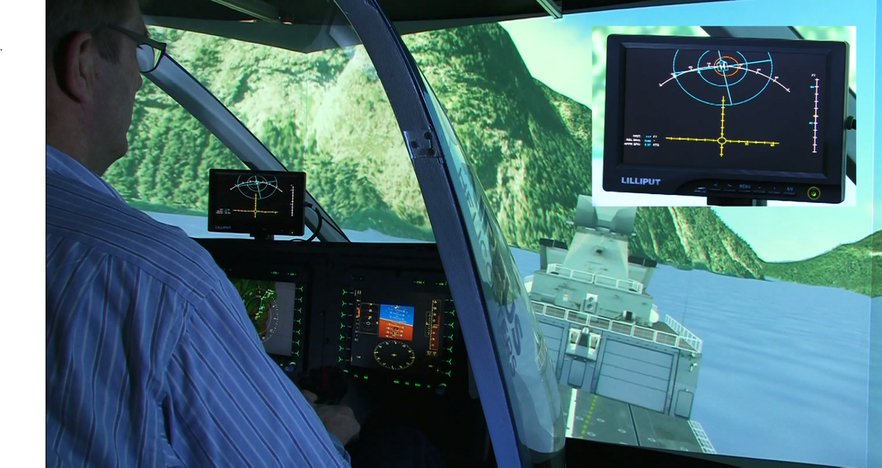 Inside view of a DeckFinder-equipped rotorcraft, with a display module providing landing guidance.