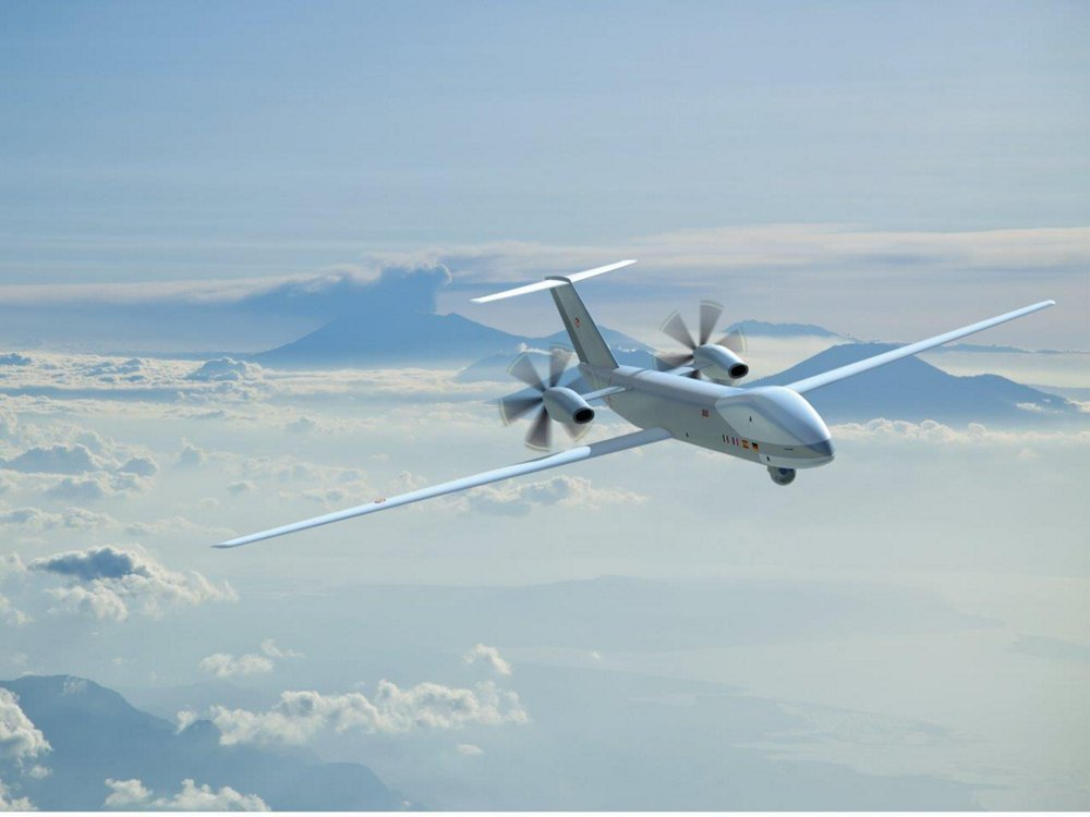 An in-flight depiction of the Airbus-developed European Medium Altitude Long Endurance Remotely Piloted Aircraft System (MALE RPAS).