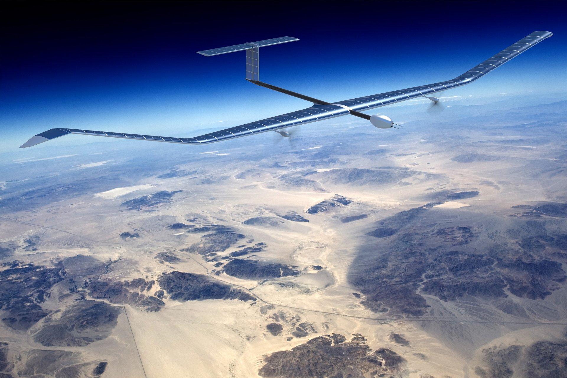 A representation of Airbus' Zephyr high-altitude pseudo-satellite (HAPS) in flight.