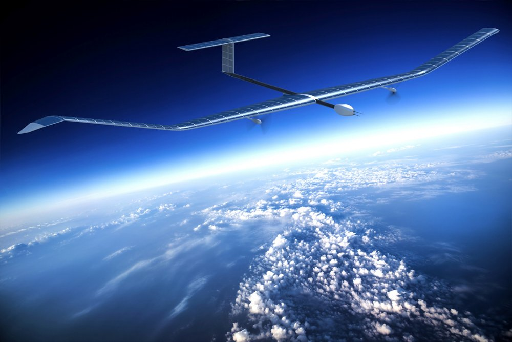 Airbus' solar-powered Zephyr high-altitude unmanned aircraft flies above the clouds in an artistic representation.