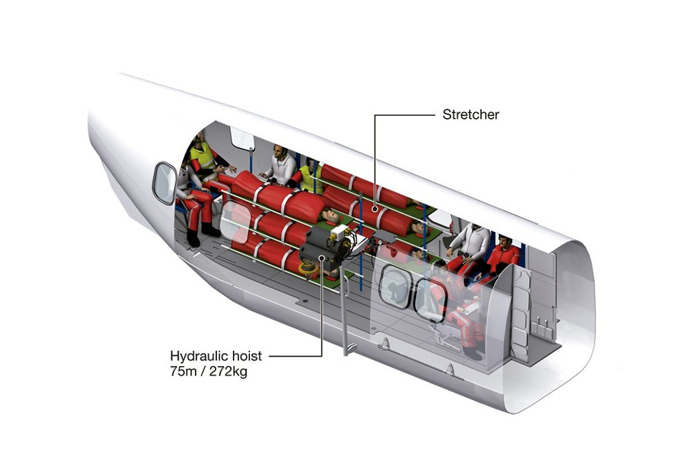 Diagram of an Airbus H215 helicopter cabin outfitted for medical evacuation (Medevac) operations.
