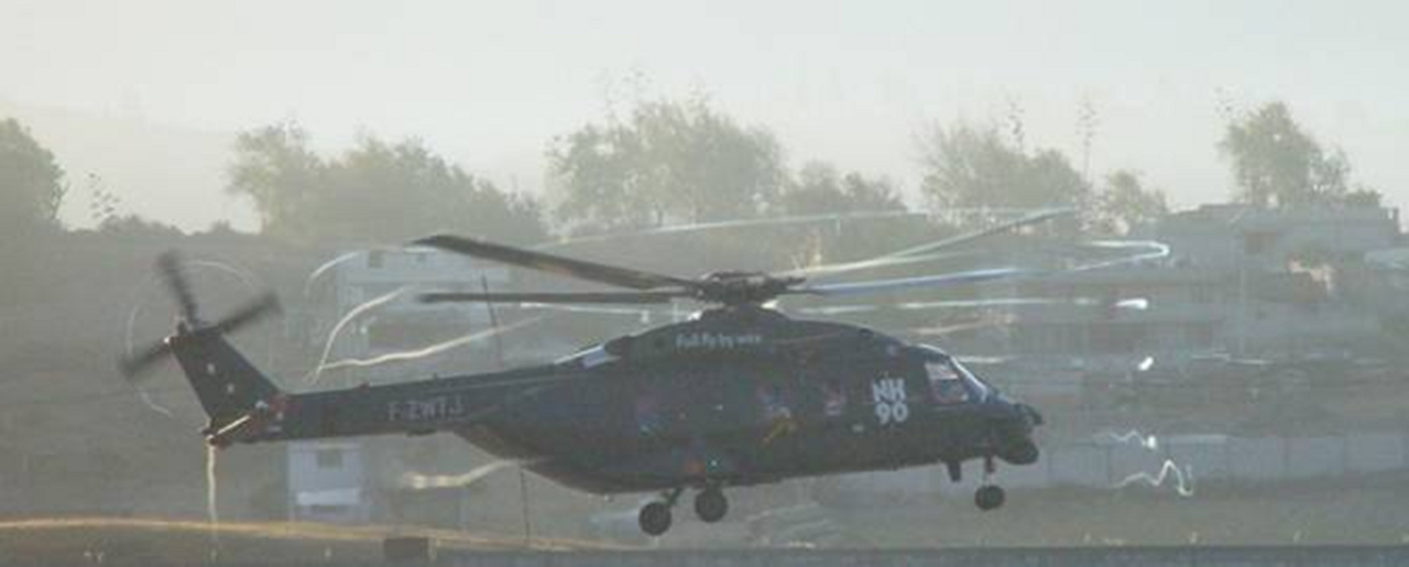 "When a helicopter is making an approach, the main rotor blades can move into the path of a vortex produced by the blades ahead, producing a sound called ""blade slap."""